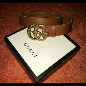 Other - Gucci brown leather snake gg buckle belt